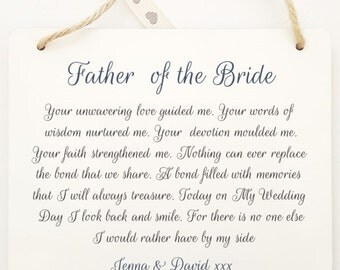 Personalised  Father of the Bride/Groom Thank You Poem Wooden Hanging Plaque