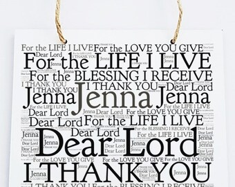 Personalised Inspirational Motivational Word Art Prayer Hanging Plaque - Dear Lord.