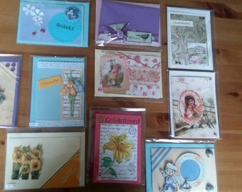 Surprise package of 10 handmade postcards for different wishes.