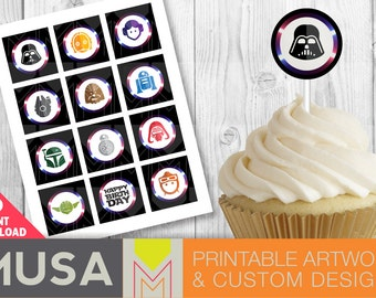 Instant download / Star Wars inspired printable cupcake toppers, stickers, labels