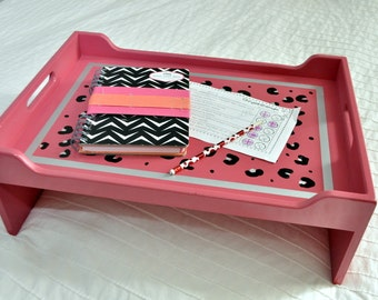 "Ready to Ship! 14X20"" Breakfast-in-Bed Tray - Pink Leopard"