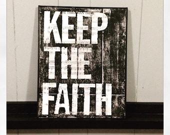 """Canvas Art Quote """"Keep The Faith"""" 11 X 14 Canvas"""