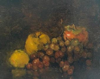 Still life with Grapes, oil Painting, One of a kind, Hand painted Artwork, Classic art,  Signed with Certificate of Authenticity