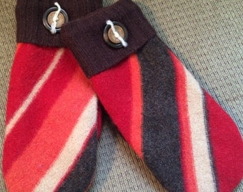 C9    Felted wool mittens  lined with fleece size large