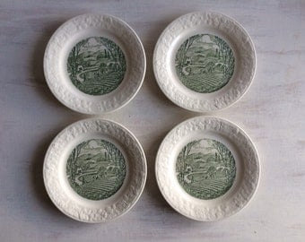 4 Small Plates With Green Pastoral Scene by Homer Laughlin