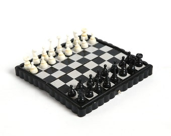 Vintage magnet chess set in plastic box, vintage chess game, soviet chess, USSR games, travel chess set, ussr board game