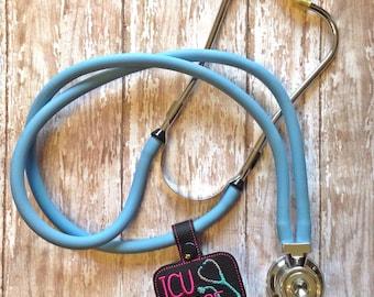 ICU Nurse - Stethoscope Tab - Key Fob In The Hoop - DIGITAL Embroidery DESIGN