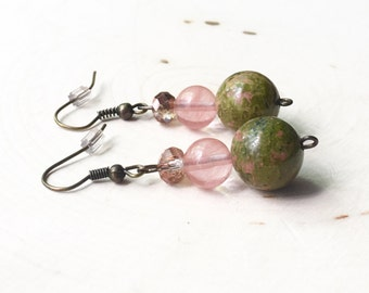 Unakite Beaded Earrings//Pink and Green Earrings