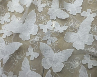 Free Shipping!! 1 Yard 3D Butterfly Lace Fabric,Wedding Dress,Cotton Floral embroidered on Netting Lace,French Lace Fabric,Bridal Dress Lace