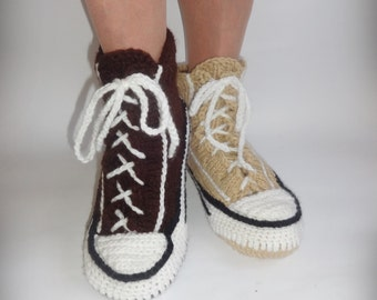 Beige Converse Slippers, Crochet Converse, Knitted Converse, Knitted Slippers, Woman Converse Slippers, Crochet Sneakers, Knitted Sneakers