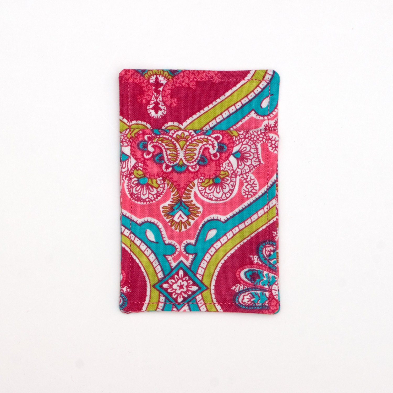 Pink Paisley Minimalist wallet Business card holder