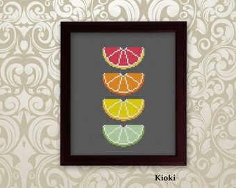 Cross Stitch Pattern Citrus Slices Instant Download