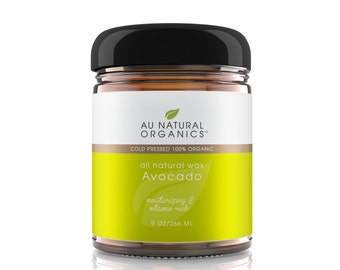 Avocado Wax Organic for Skin Repair Natural Moisturizer, Natural Skin Care, Dry Skin Relief, – Cold Pressed - 9 oz (266ml)
