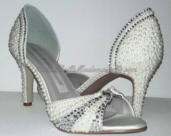 Pearl & Crystal Peep Toe Shoe's, Pearl Bridal Shoes, Crystal Bridal Shoes, Crystal Wedding Shoes, Strass Wedding Shoes, Strass Bridal Shoes