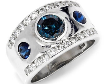Fancy Blue Diamond Engagement Ring with Sapphires & Diamonds 14K White Gold 2.30ctw