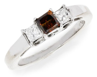 Fancy Red 3 Stone Diamond Engagement Ring Princess Cut 14kt White Gold .80ctw
