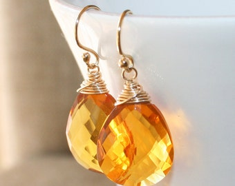 Yellow Quartz Earrings, 14K Gold-filled, Wire Wrapped, Honey Quartz Earrings