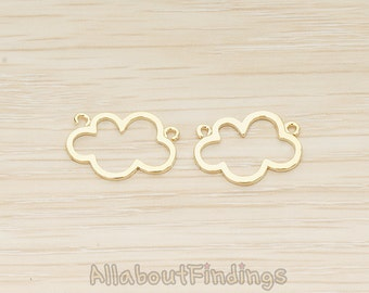 PDT1525-G // Glossy Gold Plated Cloud Link Double Loop Charm Pendant, 2 Pc