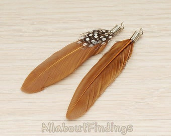 F004-BROWN // Brown Colored Simple Feather Pendant, 2 Pc