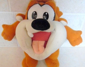 """Lovable, Warner Bros. Baby Taz, Tazmanian Devil plush doll. 9"""" tall in good condition, plush characters"""