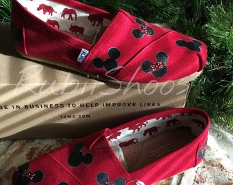 Women's Mickey Mouse And Minnie Mouse Heads- Red Toms- Disney Shoes- Disney Toms- Painted Shoes- Hand Painted- Toms-
