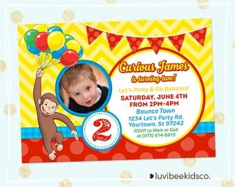 Curious George Invitation w/Photo, Curious George Birthday Invitations, Curious George Party • Any Age, You Print