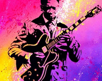BB King (pink) 18 x 24- Canvas Print of Original Painting