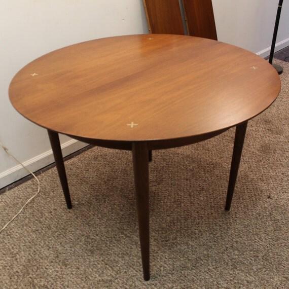 Mid Century Danish Modern Unusual Round Walnut Dining Table W