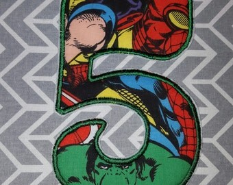 Avengers Birthday Number 5  Iron on No Sew DIY Embroidered Patch Applique