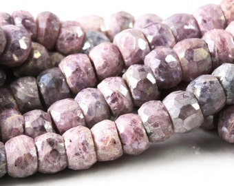 Pink Ruby Faceted Rondelles,  AB Coating,  3.25 Inches or 6.5 Inches - Quarter Or Half Strand - 4.5mm - Semi Precious Gemstones KJ