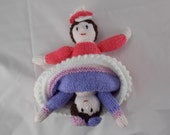 Doll topsy turvy two character handknit dolly lavender and pink with lovely flower details