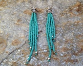 Seed Bead Earrings,  Turquoise Beaded Earrings, Long Fringe Earrings, Boho Beaded Earrings, Long Dangly Earrings