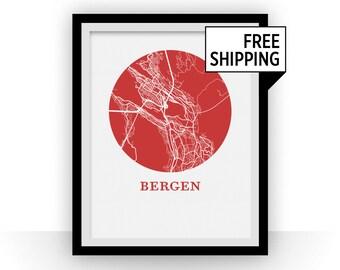Bergen Map Print - City Map Poster