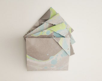 Gray Note Card Set. Origami Note Card Set. Gray Note Card. Note Card Set. Origami Gray Note Card