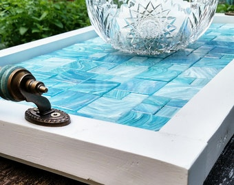 """Ottoman Serving Tray-Light Blue Glass Mosaic Tile-Turquoise Wooden Handles-White Barn Wood Finish-Handmade-Rustic Contemporary-27""""x15"""""""