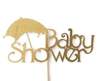 Baby Shower Cake Topper in Gold Glitter, Gold Cake Topper, Baby Shower Decorations