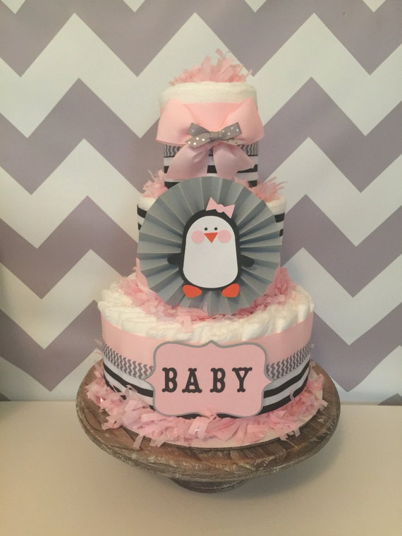 penguin diaper cake for girls penguin baby shower