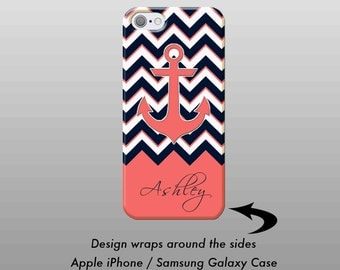 Navy Coral Chevron iPhone Case,  iPhone 7 Case, Personalized iPhone Case, iPhone 6 Plus Phone Case, iPhone 7 Plus Case, Samsung Galaxy Case