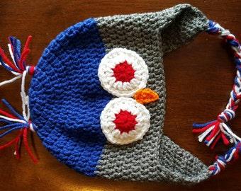 Super cute owl hat (royal/grey), owl earflap hat, winter hat