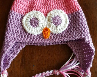 Super cute owl hats (perfect pink/orchid), owl earflap hat, winter hat
