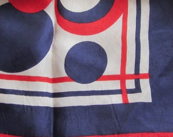 Red White and Blue Circles Scarf, Retro Scarf, Made in Italy
