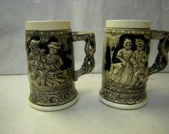 2 beer mugs-german inspired-german scene-bar decor-bar ware-man cave-
