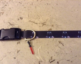 """Darth Vader Star Wars Inspired adjustable 1"""" wide dog collar with a red light saber charm LEASHES also Available"""
