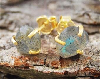 Boho Earrings, Studs, Gold Studs, Gold Gemstone Earrings, Labradorite Earrings, Labradorite Studs, Gemstone Earrings, Gemstone Stud Earrings
