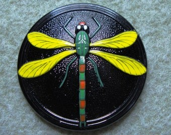 Czech Glass Button 41mm - handpainted large dragonfly - black, green, red, yellow (B41070)