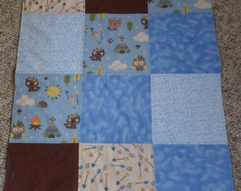 Boy's baby blanket with owl & fox, feather headband, arrows, crib bedding, receiving and stroller blanket, double layer flannel, so cute