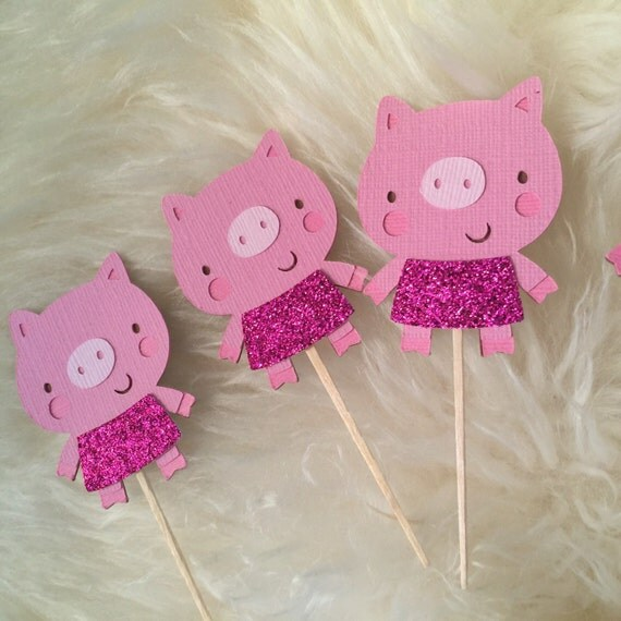 Pig cupcake toppers, Farm/Pig Theme Party