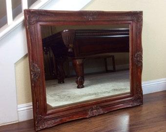 """Barn Red Mirror, Vanity Mirror, 37"""" by 31"""", Bathroom Mirror, Farmhouse Red Mirror, Wall Mirror, Decorative Mirror, Mantel Mirror"""