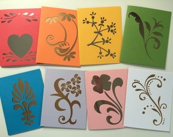 Vibrant cutout specialty cards
