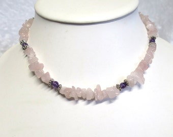 Rose Quartz and Amethyst gemstone necklace  CCS113
